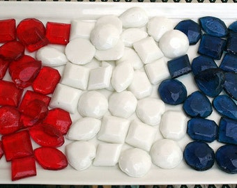 Red, White and Blue Edible Jewels Wedding Favors - 90 Candy Pack - Hard Candy Gems - 4th of July Favors, Patriotic Wedding Favors