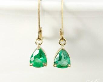 Gold Pear-Cut Natural Green Emerald Earrings - Dangle Earrings - May Birthstone Earrings, Vibrant Emerald