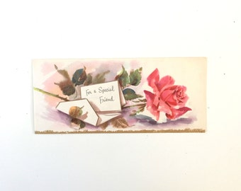 Vintage 1950s Birthday Card Floral Card for Friend Birthday Card Unused Vintage Birthday Card Old Card