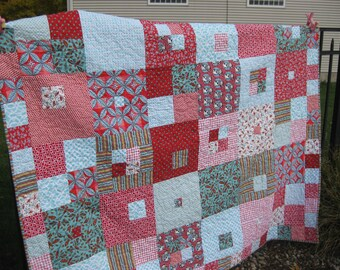 Modern Red and Turquoise Twin/Throw Quilt