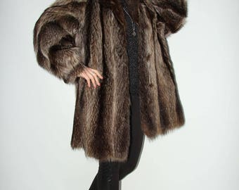 SALE RACCOON Fur Lovely Stroller Jacket Coat Size Large Fur Coat