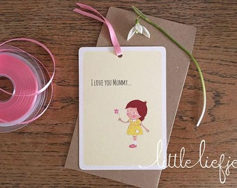 I Love You Mummy, Mother's Day Card, Happy Mother's Day, Postcard, Pink Flower, Girl Illustration