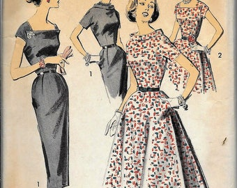 Vintage 1950s / 1960s Advance Dress Fitted And Belted Slim Or Full Skirt Sewing Pattern Size 16 Bust 36