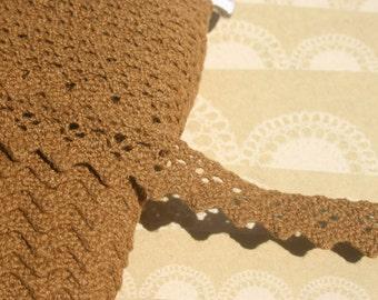"Brown Cluny Lace - Medium Brown Crochet Trim - 5/8"" Wide - Caramel"