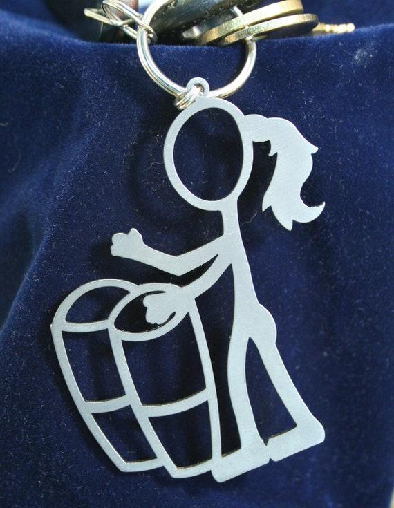 Bongo Girl Stick Figure Keychain charm
