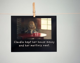 "Art Print Typographic Print Typography ""Claudia Kept Her House Messy And Her Martinis Neat"" Martini Print Doll Photograph"