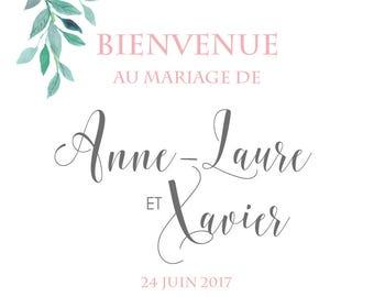 Affiche de Mariage - Bienvenue - So Romantic - Personnalisable et Imprimable