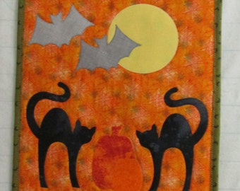 "HANDMADE HALLOWEEN Spiderweb  Wall Hanging Appliqued Black Cats, Bats, Pumpkin-Orange, Black 15"" x 26"""