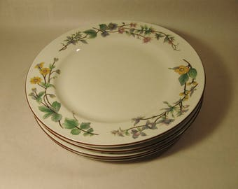 Lot #1 WOODHILL DINNER PLATE Set of 4 by Citation Floral Design Retired Pattern 1980's