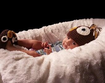 Owl Crochet Hat and Shoe Set, Handmade Owl beanie, baby booties, baby hat, Newborn-12 months