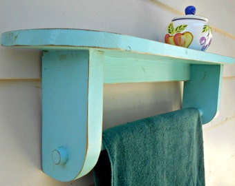 BathTowel Rack with Shelf, Wood Towel Holder made from Recycled Pallet Lumber, Distressed Finish, Painted a Distressed Blue