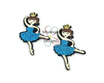 "Blue Glitter Ballerinas - Felt Appliques - Dancing Girl Doll Ballet - Pink Tutu - Gold Crown - Feltie Embellishment 2.75"" -  DIY"