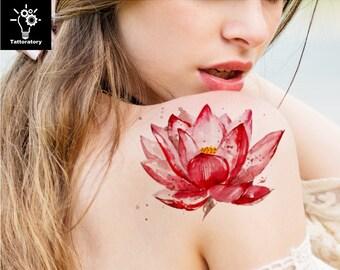 Lotus Temporary Tattoo Lotus Tattoo Lotus Fake Tattoo Watercolor Tattoo Flower Tattoo Watercolor Flower Tattoo Red Lotus Large Floral Tattoo