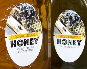 CUSTOM large OVAL Busy Bees Honey canning jar & bottle labels for backyard beekeeper gift, personalized honeycomb stickers for mason jars
