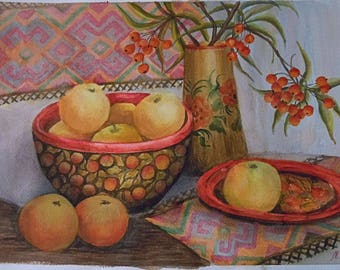 Maria Pletinski original watercolor - Spanish autumn still life