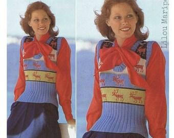 Boho Knitting TOP Pattern Vintage 70s Crochet Vest Pattern Reindeer Top Pattern-Sweater Pattern Bohemian Clothing-INSTANT DWNLOAD