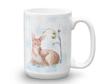 MUG - Coffee - Tea - Hot Chocolate - Deer in the Woods - Ceramic Mug - 11 or 15oz.
