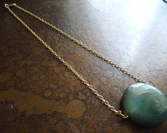 Evergreen Green Agate Gold Plated Chain necklace