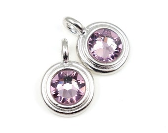 June Birthstone Pendant Small Tiny Minimalist 16mm Silver Charm Light Amethyst Swarovski Crystal for Personalized Jewelry Supplies