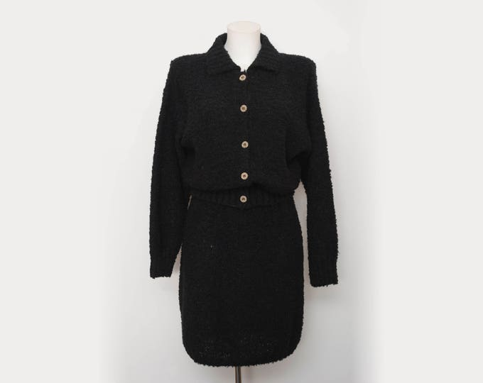 Vintage dead stock 90s black jacket and skirt set