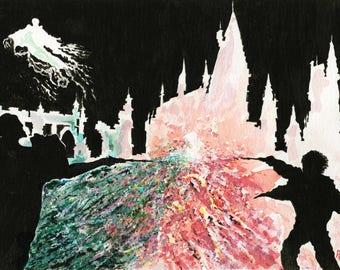 Harry potter watercolour print, harry potter wizard print, hogwarts print, harry potter illustration, harry potter wand,boys room decor