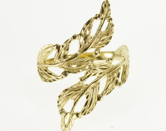 14k Ornate Feather Leaf Wrap Freeform Bypass Ring Gold