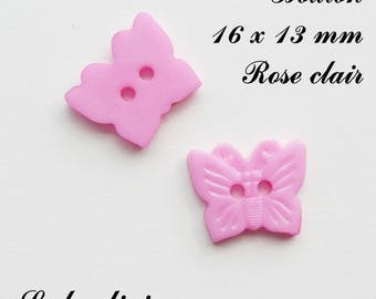 Set of 5 Butterfly buttons with 2 holes for 16 x 13 mm: light pink