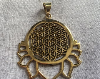 Flower of Life, Pendant, Brass, Sacred Geometry