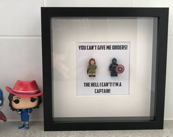 Captain America Minifigure Shadowbox - Captain America and Agent Peggy Carter