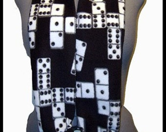 Domino's in Play Fleece Scarf, Black/White Muffler, Board Gamer/Family Night Neck Scarf, Bufanda