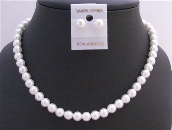 Wedding White Pearls Necklace Earrings Jewelry,Wedding White Pearl Necklace Set Bridal Jewelry Pearl Wedding Set Set Free Shipping In USA