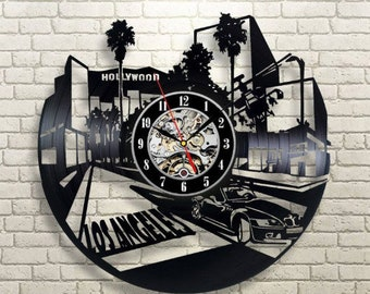 Los Angeles Wall Clock Vintage Los Angeles City Vinyl Record Wall Clock Hollywood Travel Birthday Gift For Her Room Decor Wall Clock Modern