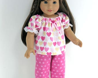 Handmade Clothes for 18 inch American Girl Doll - Flannel Pajamas, Headband - Pink Hearts, Dots - Slippers Option