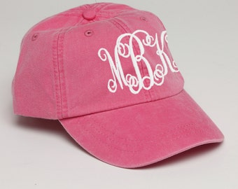 Hot Pink Monogrammed Baseball Cap for Ladies-Pigment Dyed Hat with Interlocking Script Monogram-Custom Embroidery, Personalized Baseball Hat