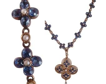 Antique Edwardian Necklace Sapphire Pearls 15k Gold (4203)
