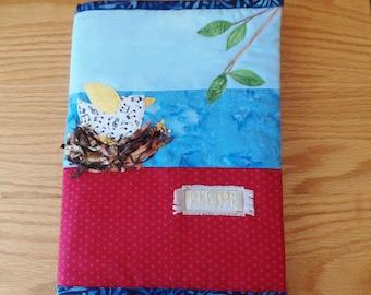 Fabric Journal, Art Journal, Bird, Fiber Art, Nest, Refillable, Polka Dots