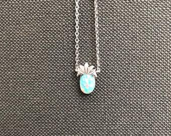 Handmade Opal stone pineapple necklace