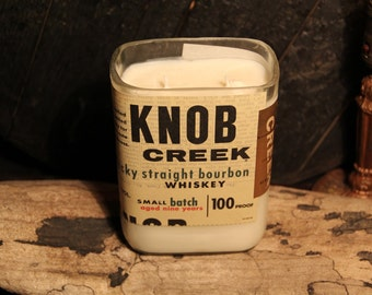 Knob Creek Bourbon Candle / Whiskey Bottle Candle, Man Candle, Bourbon Gift, Whiskey Giftt,Handmade Soy Candle, Father's Day Gift