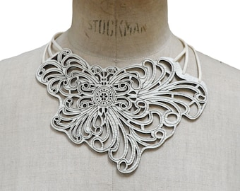 ELENA, Wearable Art, Statement Necklace, Bohemian, Leather Jewelry, Laser Cut Leather, Gypsy, Fashion Accessories, Leather Necklace