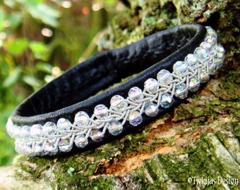 Sami Viking Bracelet SKINFAXE Black Leather Cuff with sparkling Crystal and Pewter braid on Black Leather