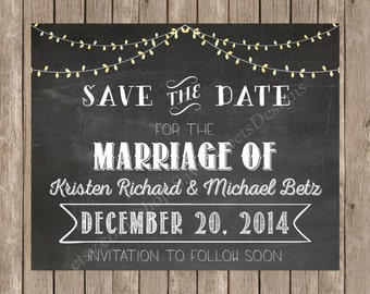 Chalkboard String Light Save the Date Announcement Printable