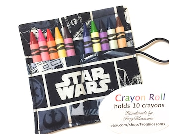 Star Wars Birthday Party Crayon Roll Party Favors made of Star Wars fabric, Space Ships, Star Wars Birthday Party Favors