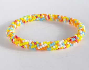 Roll On Bracelet - White, Orange, Yellow, Blue, Red