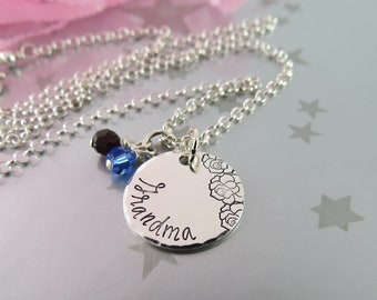Hand Stamped Sterling Silver Necklace For Grandma with Roses and Personalized Swarovski Crystal Birthstones. Jewellery for your Grandmother