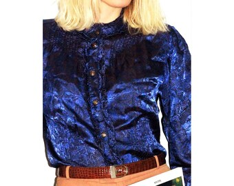 1980's vintage blue silk jacquard blouse with flowers and leaves pattern - vintage clothing