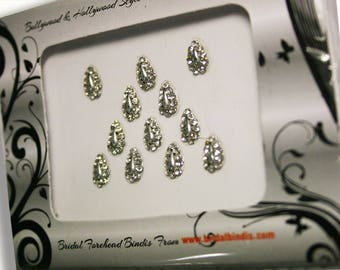 Bindi - 10 monarch Premium quality Crystal SILVER Tear drop shape Forehead Stickers