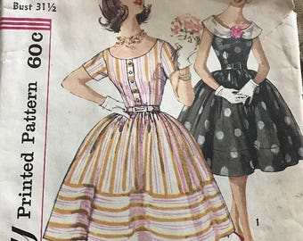 Vintage 60s Simplicity 3384 sleeveless dress with detachable collar sewing pattern