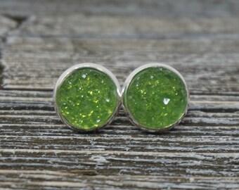 Pear Green And Silver Druzy Stud Earrings, Druzy Earrings