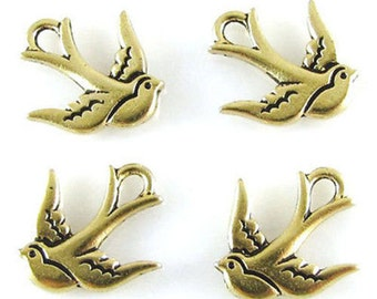 TierraCast Pewter Bird Charms-ANTIQUE GOLD SWALLOW (4)
