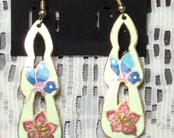 Classic Ivory Cloisonné Dangle Earrings with Butterflies